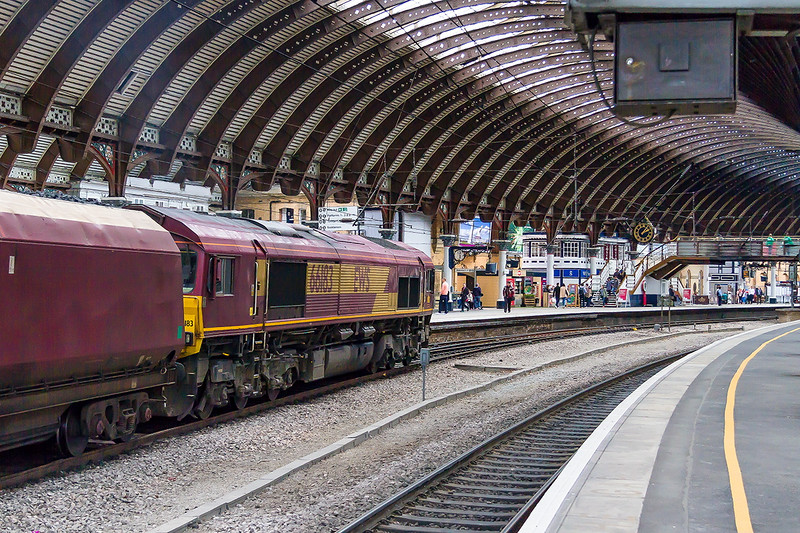 16th May 2015:  Bang on time running through York is 66183 heading 6D13 loaded coke in  WIAs from Redcar BSC to Scunthorpe BSC
