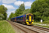 27th May 2015:  From Townend Crossing in Wylye 158955 is captured as it passes with 1F09 the 09.30 from Cardiff to Portsmouth Harbour