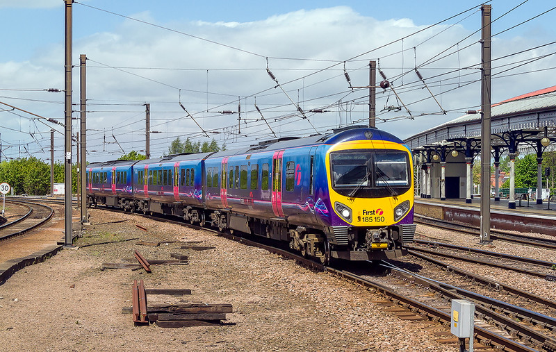 16th May 2015:  185150 forming 1P39 the 12.28 from Middlesborough to Manchester Airport arriving at York