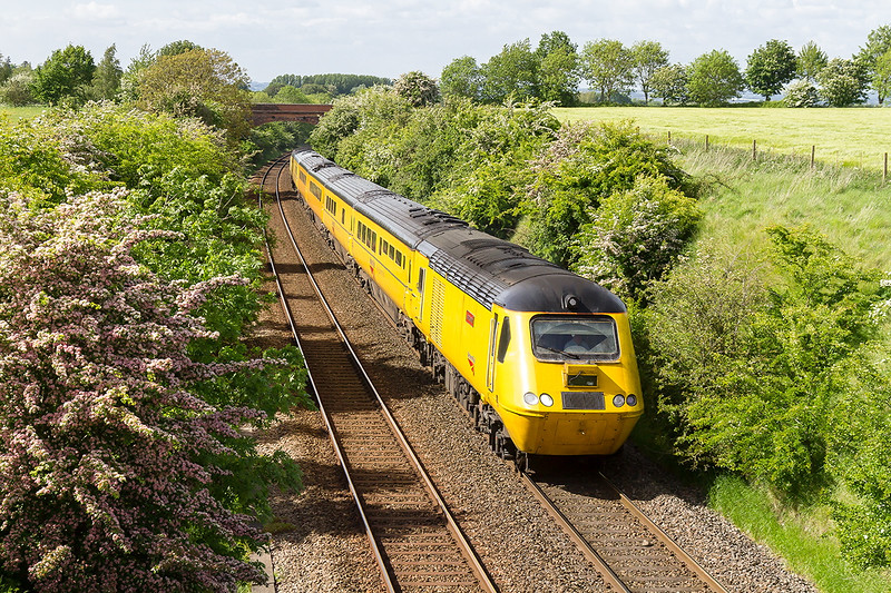 28th May 2015:  The NMT, with  43062 John Armitt on the front, is nearing the top of the Upton Scudamre incline as it works back to Salisbury from Westbury.  It will then retrace it's steps to Old Oak Common
