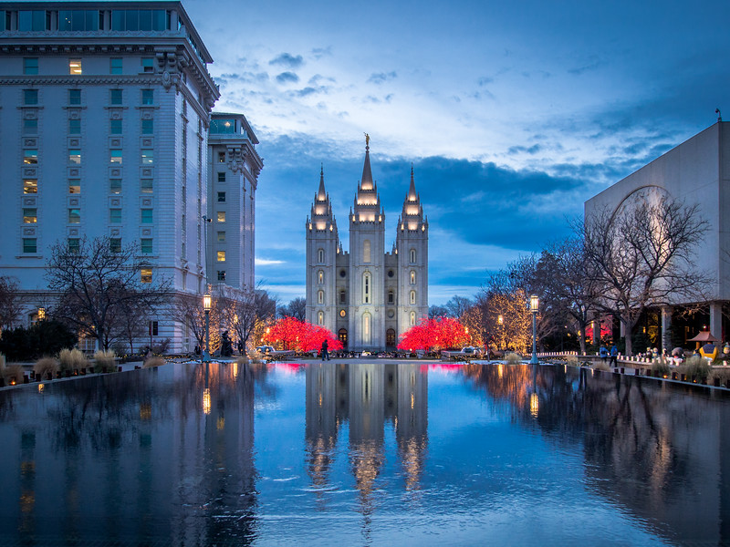 Winter Lights on the Temple, Salt Lake City, Utah, USA