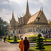 Monks Outside the Throne Hall, Royal Palace, Phnom Penh, Cambodia