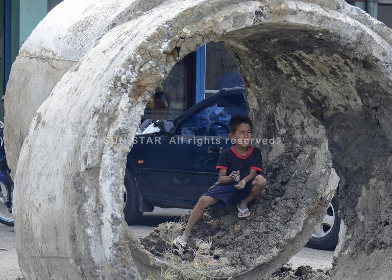 Playing in a culvert