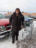 Sam Hunter on crutches outside Northern Store in Moosonee.