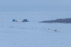Snowmobile with sled and snow groomer near end of Bushy Island.