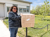 Denise Metatawabin with box mailed June 13th from North Bay and picked up in Moosonee June 15th.