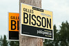 Differential fading of colours on election signs on First Street.