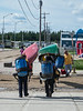 Canoeists head for the train station in Moosonee.