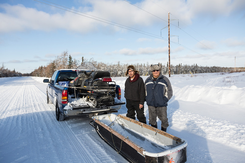 Johnny Kirk and Joe Wabano along the winter road north from Moosonee.