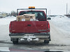 Following Two Bay truck to Moose Factory for delivery of new fax machine and pickup of old and incorrect machines.