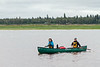 Articling students Alyssa Holland from Ottawa and Laura Faryna from Moosonee return from a canoe trip on the Moose River.