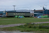 Canoeists camped near train station in Moosonee.