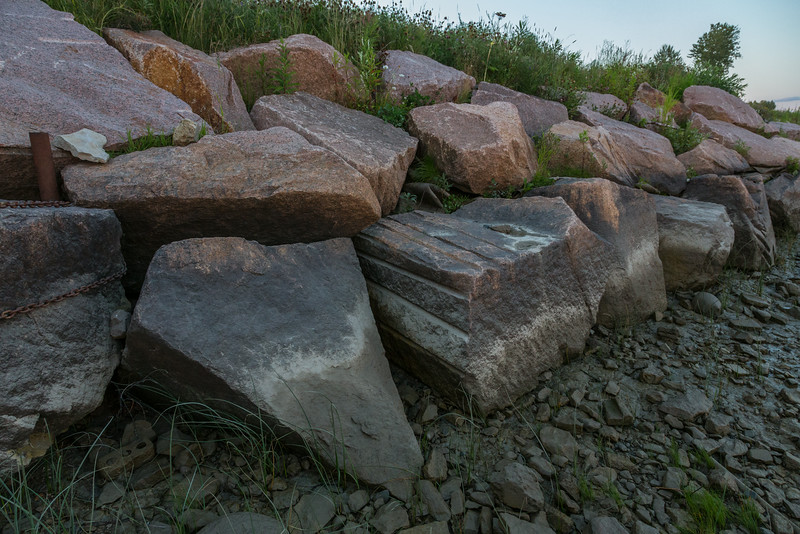 Granite rocks along the Moose River shoreline in Moosonee.