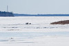 Snowmobile and sled on the Moose River approaching island; another snowmobile and sled about to go back on the river towards Moose Factory.