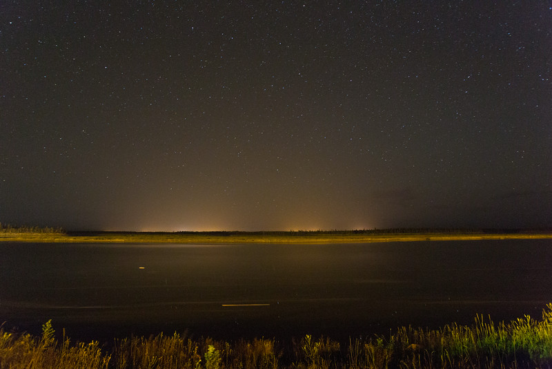 Looking across the Moose River at night from Moosonee.