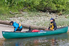 Laura Faryna and Alyssa Holland, articling students, landing their canoe in Moosonee.