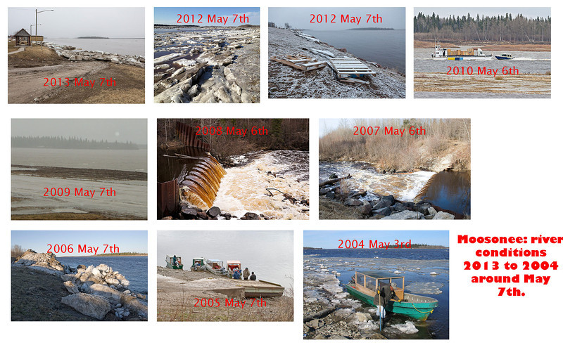 Moosonee river conditions around May 7th: 2013 to 2004. 2010, 2008 and 2007 shows May 6th. 2004 shows May 3rd.