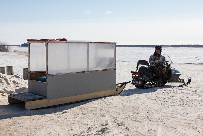 Snowmobile taxis travel between Moosonee and Moose Factory once the road is closed to heavier wheeled vehicles until the river breaks up.