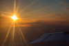 Flying from Timmins to Moosonee. Sunset approaching.