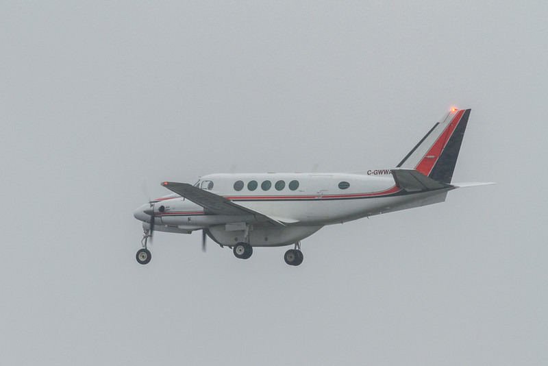 C-GWWA Beechcraft 90 King Air coming to land at Moosonee.