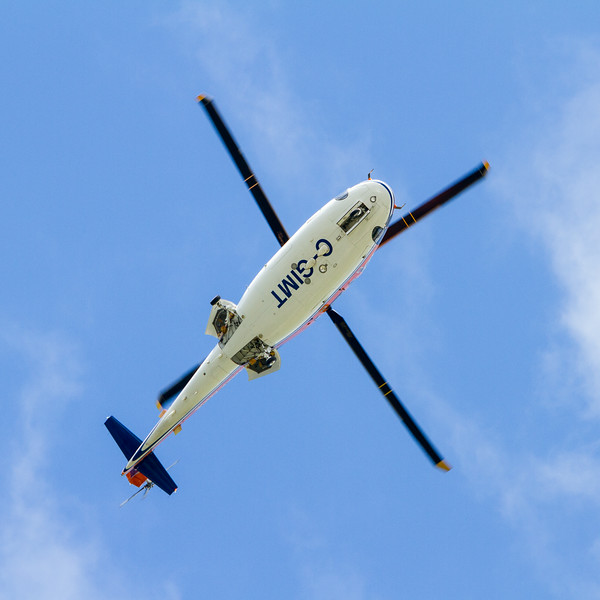Ambulance helicopter C-GIMT over Moosonee.