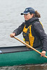 Articling student Alyssa Holland canoeing on the Moose River at Moosonee.
