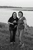 Alisa Trout and Lucy Quezance along the Moose River in Moosonee.