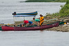 Canoeists newly arrived in Moosonee.