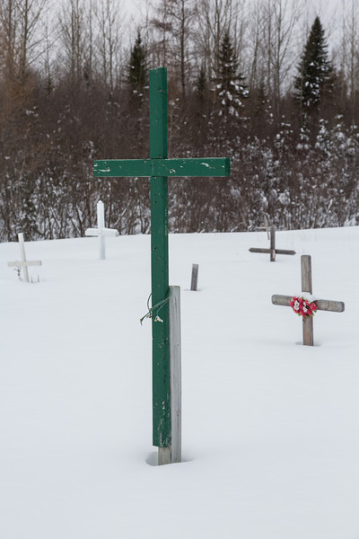 Moosonee Public Cemetery in winter.