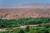 The Draa Valley with villages and date groves in southern Morocco.