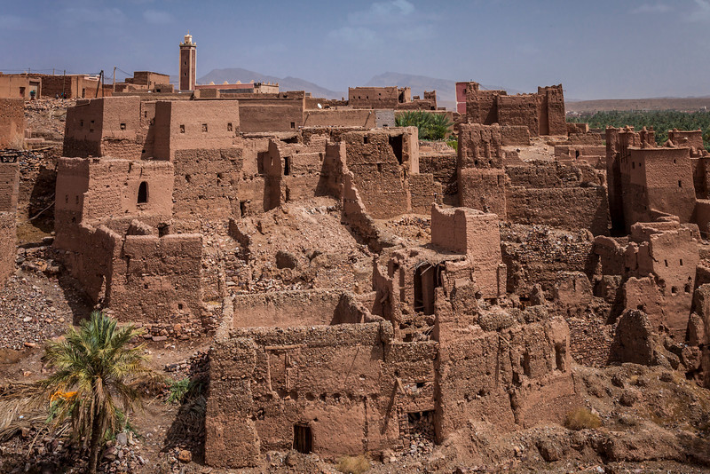 Kasbah architecture in the village of Tinzouline in the Valley of the Draa, Morocco.