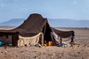 A bedouin tent in the desert near the Dunes of Tinfou, Zagora, Morocco.