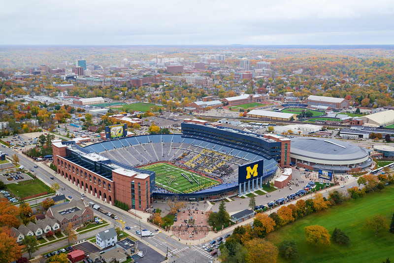 View of the Big House and Ann Arbor in the Fall.