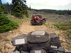 614 V-Strom on Jeep slowly heading towards Quartz Mountain with ATV chase vehicle