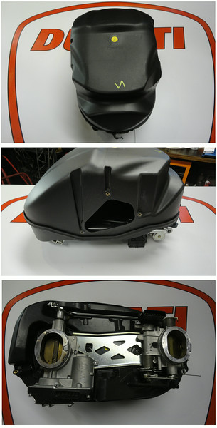 Multistrada 1200 air box (airbox), throttle bodies attached.