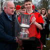 030814  Munster Colleges Senior B' Hurling Final  Colaiste Phobal Roscrea v Cashel Community School.    Colaiste Phobal Roscrea Senior B Hurling Captain Lee Cashin recieves the Trophy.  Photo Andy Jay.