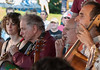Adira Amram, David Amram, Peter Yarrow and Rufus Cappadocia on the rainbow Stage at the 2011 Clearwater Festival.
