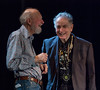 Pete Seeger and David Amram sharing a laugh at Tarrytown, NY's Music Hall in 2011.