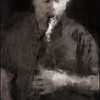 Sture Ericson: bass clarinet at Koncert Kirken, the 2013 Copenhagen Jazz Festival. Photo painted with digital graphite brush in PostworkShop + texture layer.