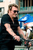 Johnny Hallyday, Laeticia with Joy and Jade,Gilbert Couillet and his wife Nicole biking in Venice,California.