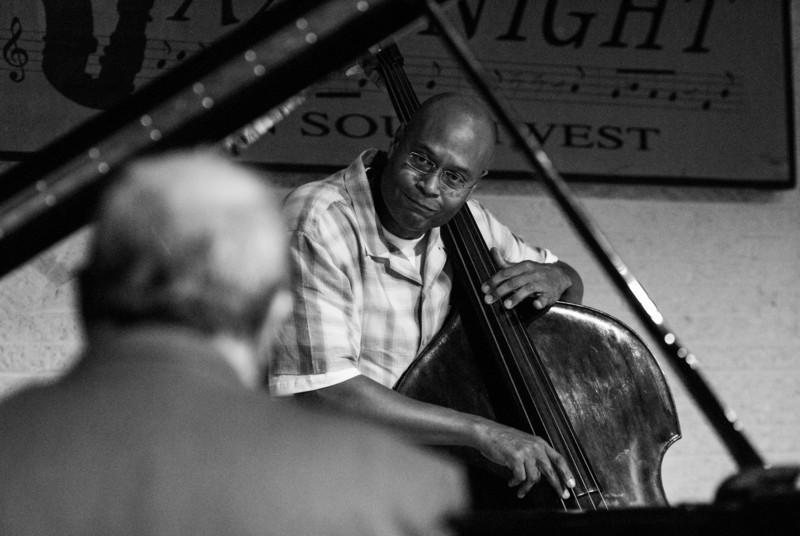 Bassist Herm Burney looks at pianist Bob Butta as the two share a musical phrase.  Westminster Presbyterian Church, Washington, DC, September, 2012.