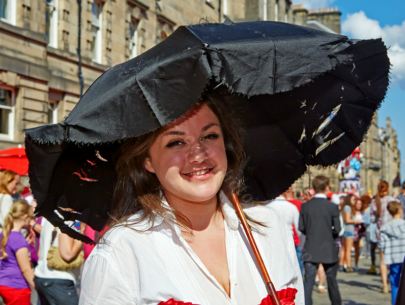 Girl with Brolly at the Fringe Festival in Edinburgh - 7 August 2014