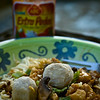 Bakmi Ayam Bakso <i>(Chicken Noodle with Meatball)</i> Tue. August 4, 2009 (Day 72)  6:30pm: Picked up some Indonesian food on the way home.  7:30pm: Hubby came home with Tiramisu! 9:30pm: Finished watching True Blood.  Another food shot for Daily. Yum...