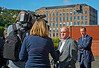 Duncan McNeil MSP talking to the media at Ferguson's Shipyard - 22 August 2014