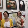051109 : 5th Cong. District Art Show  : TYN_US Congresswoman Niki Tsongas announces winners in the 2009 5th Cong. Dist Art Show, Monday at the  Chelmsford Public Library. .Concord-Carlisle Junior Jessica Li, l. with Congresswoman Tsongas and her art work 'Poonya', above. Sun Photo Bob Whitaker_DIG#821