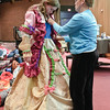 Maegan Aldous is fitted for her costume by Carol Brown during a rehearsal of Beauty and the Beast at the BSHS Auditorium Tuesday night. Photo By Eric Jenks