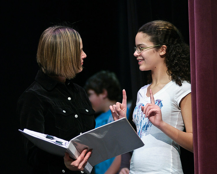 Teacher Gina Valenti works lines with Darian Rodriguez during a rehearsal of Beauty and the Beast Tuesday at the BSHS Auditorium. Photo By Eric Jenks