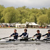Members of Saratoga's Lightweight 4+ battle the wind and choppy water during their race Sunday Morning. Photo Eric Jenks 5/9/10 For Saratogian.