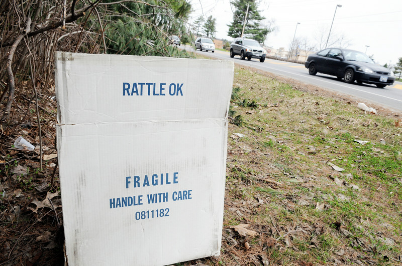 A cardboard box on the side of Weibel Avenue in Wilton. A decrease in inmate worker shortage has led to a growth of litter in the town. (RICK GARGIULO/The Saratogian)
