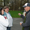 Sargent Andre Chao has a chat with Donna Barnes and Caro Fish during his brief time home Sunday Afternoon. Photo Eric Jenks 4/18/10